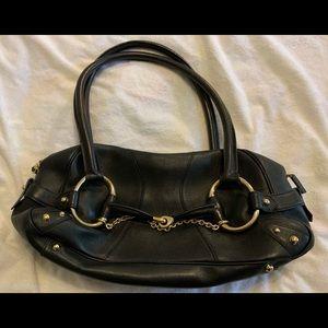 Black Leather Gucci Horsebit Shoulder Bag